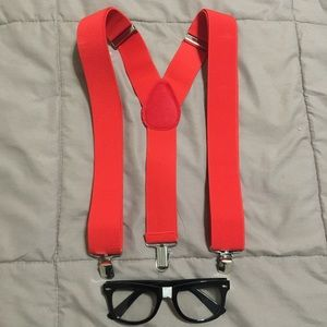 Easy Nerd Costume - Red Suspenders and Glasses